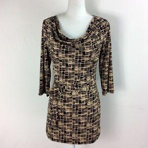T104 AGB Dress  Brown Tan Geometric Print Dress 10